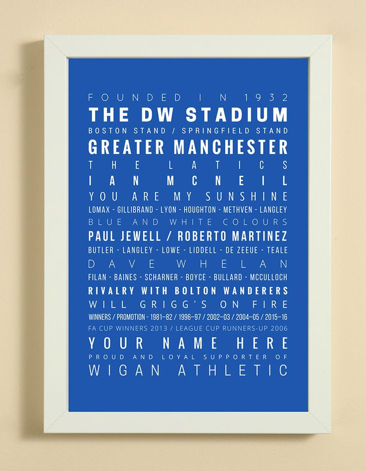 Wigan Athletic Football Club Word Art Design Print - Words, Names And Facts Associated With Wigan Athletic FC - In White Or Black A4 Box Frame