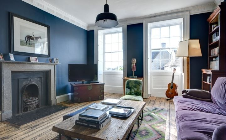 navy sitting room rug too small