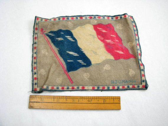 Vintage Cigar Box Felt With Roumania Flag by CarnivalCrate on Etsy, $9.00