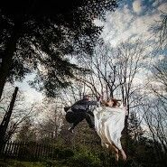 Jumping wedding photo