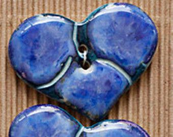 Blue heart buttons. Handmade fully washable. Use as decoration or replace plastic buttons...