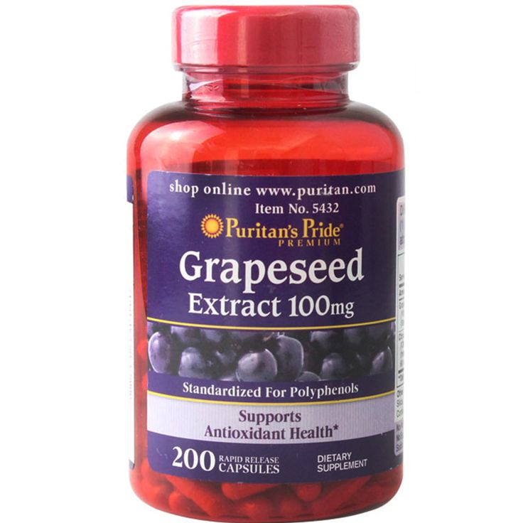 USA Grapeseed Extract 100 mg-200 Capsules Supports antioxidant health Contains polyphenols free shiping