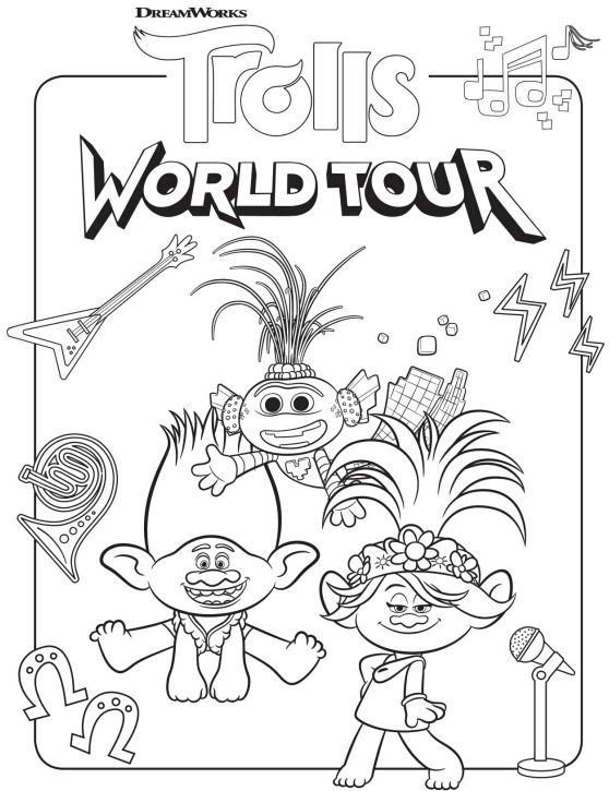 Free Trolls World Tour Coloring Pages and Printable ...
