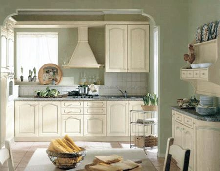 Green-White Color Schemes, Spacious White Kitchen Designs. Beautiful!