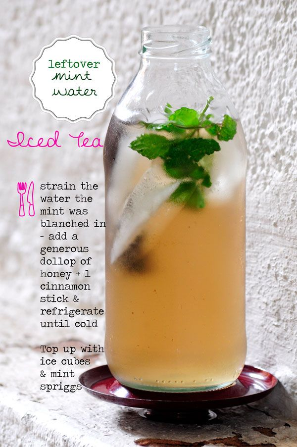 A refreshing iced tea made with leftover mint water which was used to make mint oil.  Find out how you can stretch your leftover herbs!