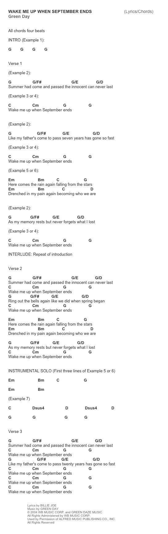 Nice Wake Me Up When September Ends Easy Guitar Chords Composition