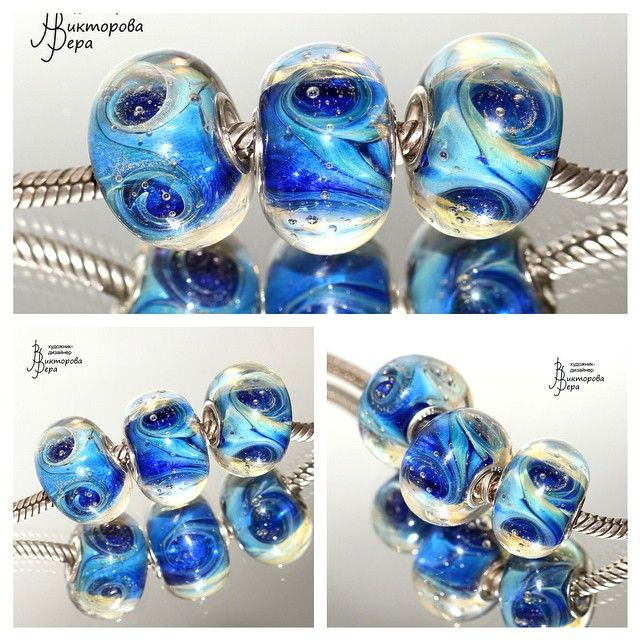 "Set of beads ""vortices on Ice planet"". Handmade glass, silver. Сет бусин ""Вихри Ледяной планеты"". Авторский Лэмпворк. #стекло #бусины #браслет #пандора #лэмпворк #handmade #glass #glassbeads #pandora #pandorabeads #trollbeads #veraviktorova #braceletbeads"