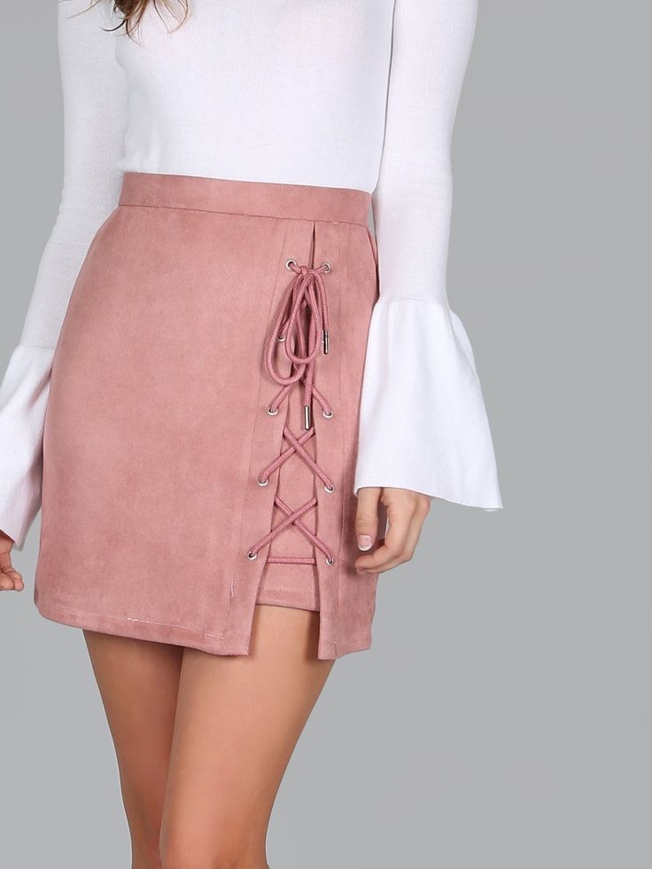 Criss Cross Lace Up Skirt MAUVE