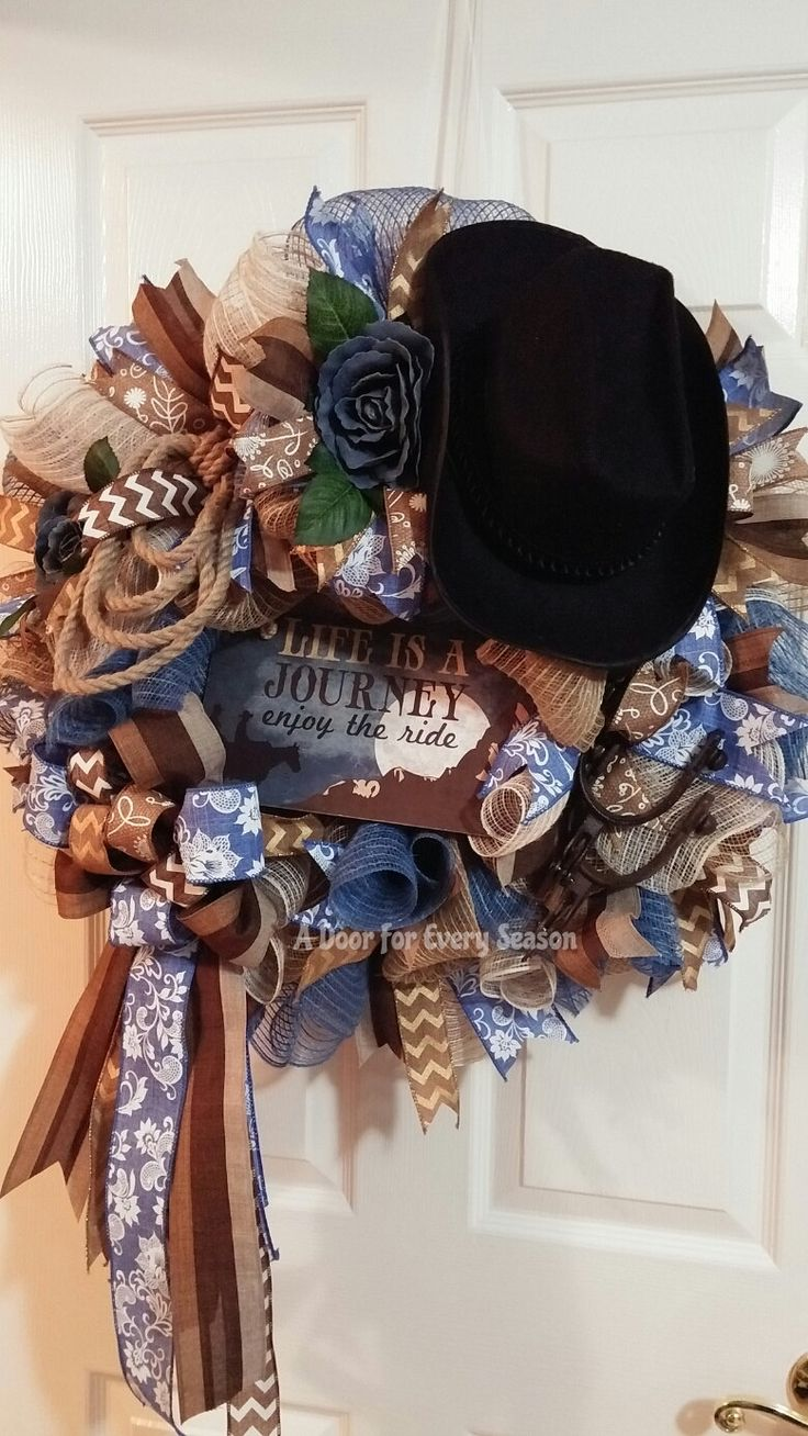 Western Wreath, Cowboy Hat, Rope, Spurs, Denim, Large Wreath by ADoorForEverySeason on Etsy