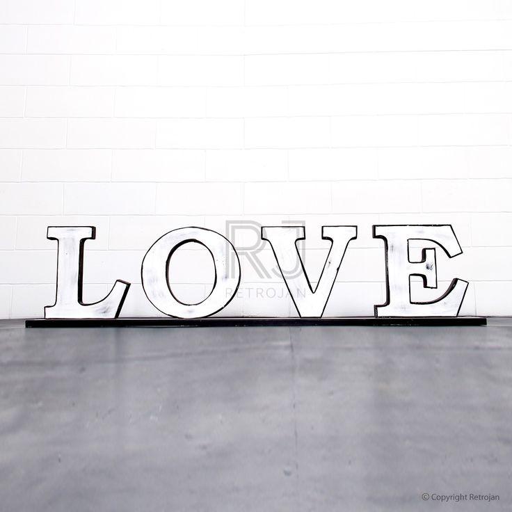 'LOVE'  Retro Iron Feature Letters - White / Black | $99.00