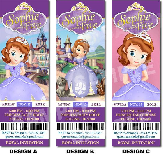 Sofia the First Invitation Printable - Printable Birthday Party Invitation - Sofia. $10.00, via Etsy.