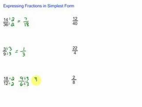 Expressing fractions in their simplest form
