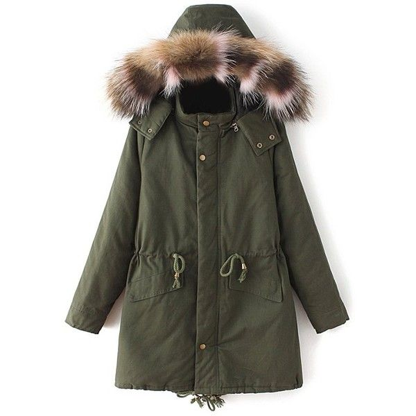 Quilted Faux Fur Collar Parka (18.955 HUF) ❤ liked on Polyvore featuring outerwear and coats