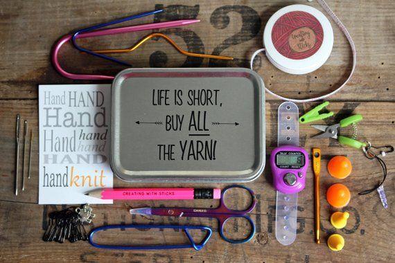 Crochet accessories tin Yarn tools Notions box Stitch Marker Tin Crochet gifts
