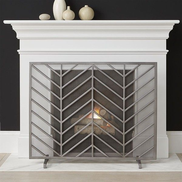 Crate & Barrel Chevron Fireplace Screen ($249) ❤ liked on Polyvore featuring home, home decor, fireplace accessories, handmade home decor, crate and barrel, chevron home decor and mid century modern home decor
