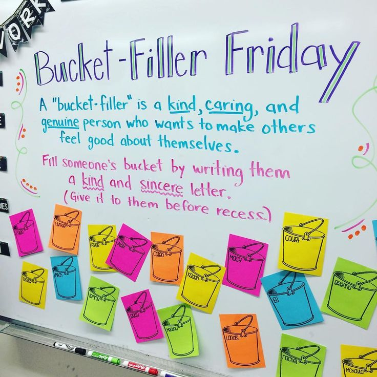 """We're filling our buckets tomorrow! #bucketfillerfriday #classroomcommunity #teachersfollowteachers #iteachfifth #miss5thswhiteboard"""