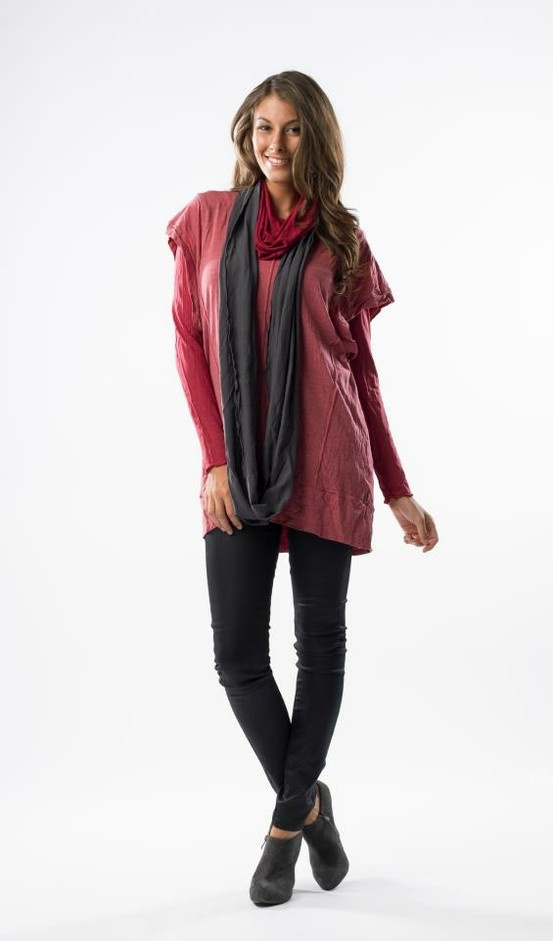 Vigorella Topstitch Tunic in Jam $89.95