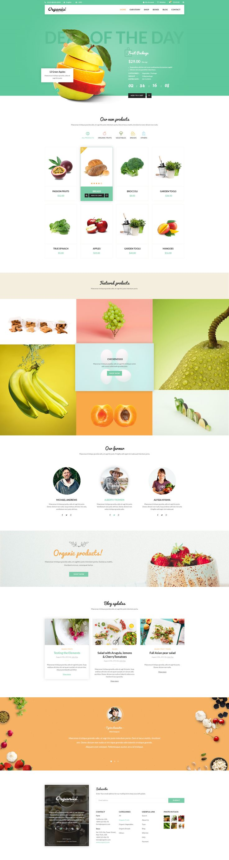Organici is the premium PSD template for Organic Food Shop. Built especially for any kind of organic store: Food, Farm, Cafe…
