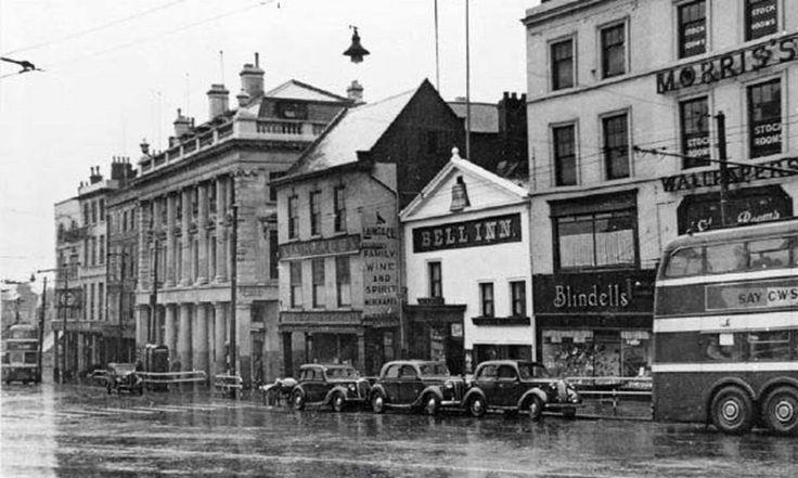 Angel Row and Beastmarket Hill, Nottingham, c1955.