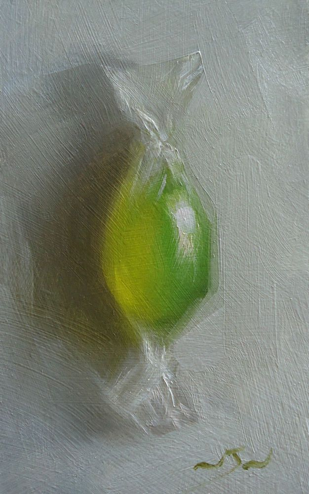 Original Oil Painting -Lemon & Lime - Retro Candy Still Life Art - Nelson
