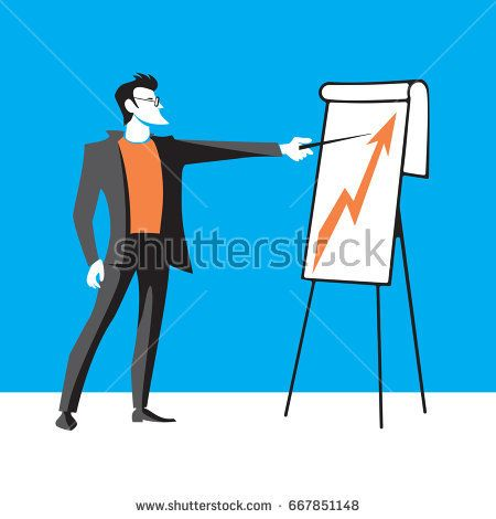 Handsome confident businessman making presentation on flipchart. Isolated on white background. Vector graphic illustration.