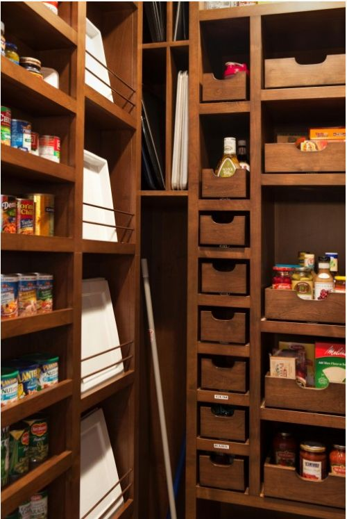 33 Cool Kitchen Pantry Design Ideas. Most of these are totally amazing carpentry and out of reach for a lot of us, but some good ideas here none the less