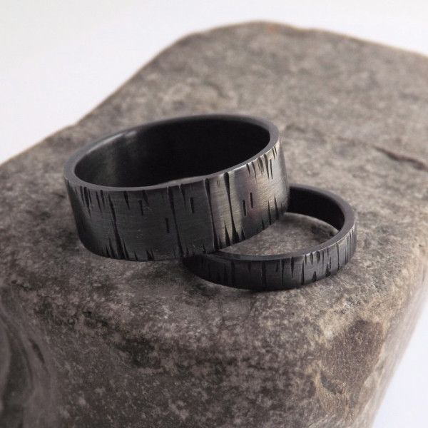 A set of unique bands for both of you. Inspired by nature, this band design represents the patterns of tree bark. Yes, this listing includes two bands! One band is thinner, measuring approximately 3mm
