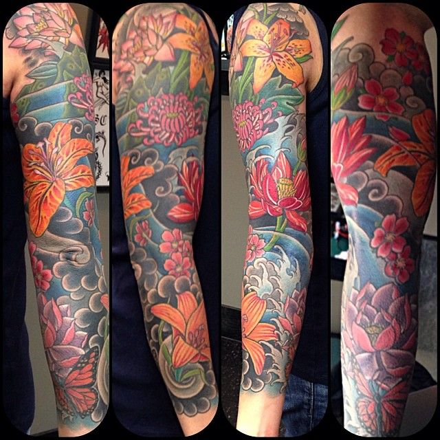"Jessi Lawson Artist I Love The Bright Colors: ""11 Weeks Later 3/4 Sleeve Finished. Fun Piece. Sorry"