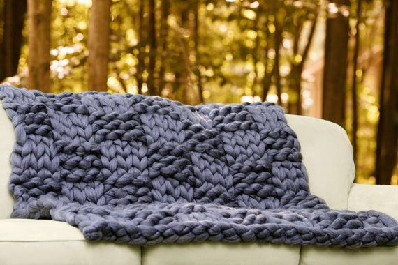 CHUNKY gebreide deken, Arm breien deken, gigantische Knit, Merino wollen deken, Super Chunky deken, handgemaakte, Extreme breien