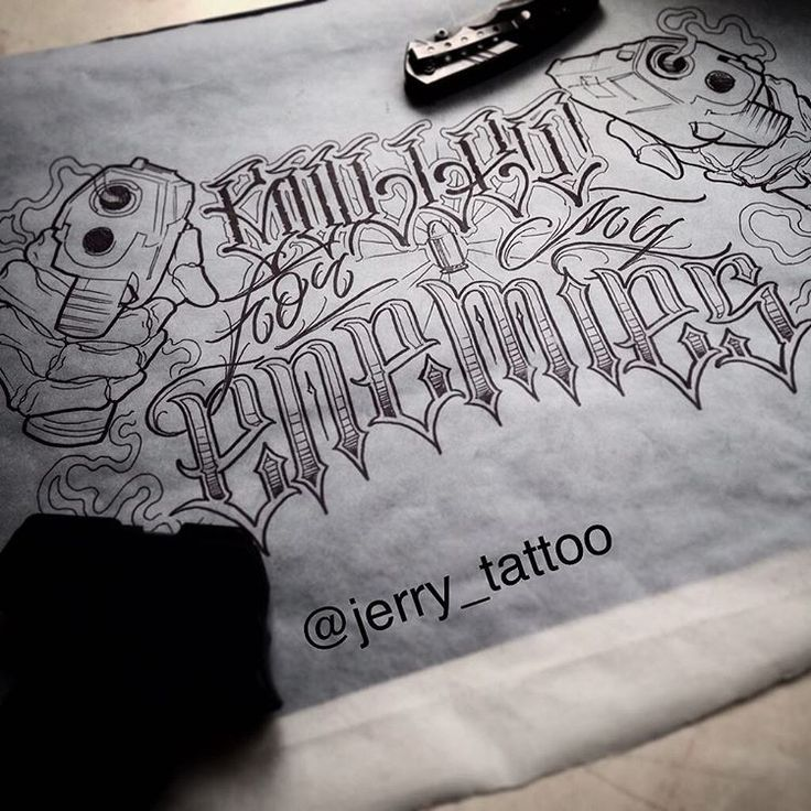 """""""Bullet for my enemies"""" #tattoo #tattoos #art #ink #flash #sketch #chicano #chicanoart #saintp #spb #piter #letter #lettering #calligraphy #script"""