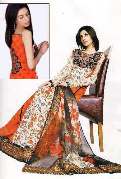 Asim Jofa - Orange And Brown Embroidered Dress