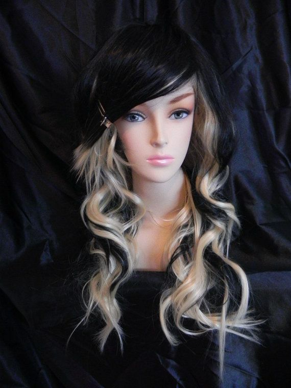 ON SALE Raven / Blonde and Black / Long Wavy Layered by ExandOh, $112.50