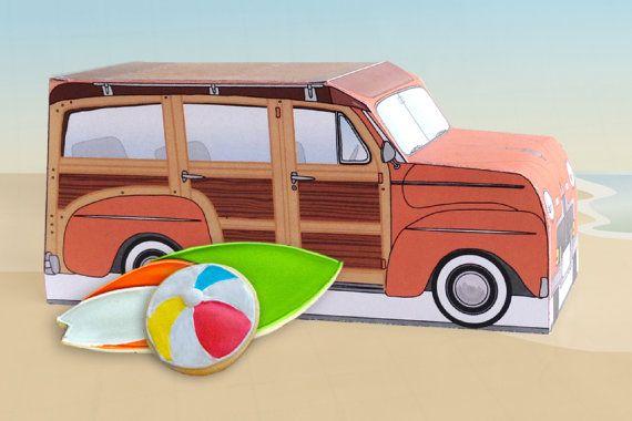 Retro Woodie Surfer Wagon Box Kit - Orange - Woody Car Cupcake Box - DIY Printable PDF Kit - INSTANT Download $7.99