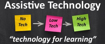 I like how this picture describes how there is different types of Assistive Technology. For instance, No Tech, Low Tech, and High Tech.