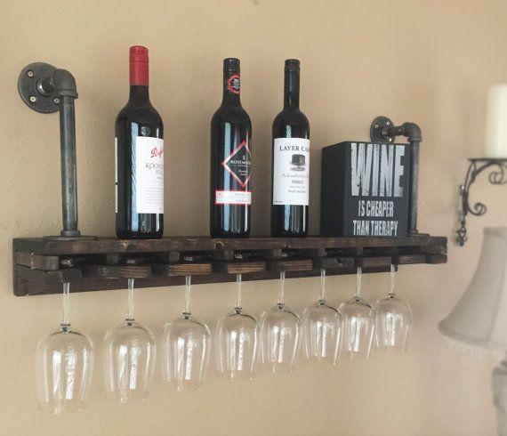 Industrial Wine Glass Wood & Iron Pipe Shelf, Industrial Shelving, Pipe Shelves, Industrial Shelf, Shelving