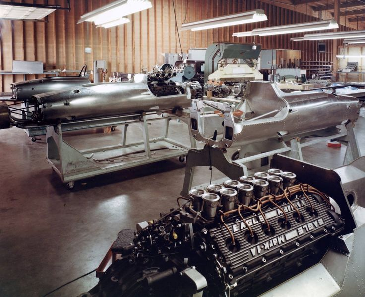 Dan Gurney's AAR Shop 1968 with unraced - unfinished 1969 Magnesium F-1chassis , A Chrysler engined Formula A (5000) chassis , and Indy cars under construction