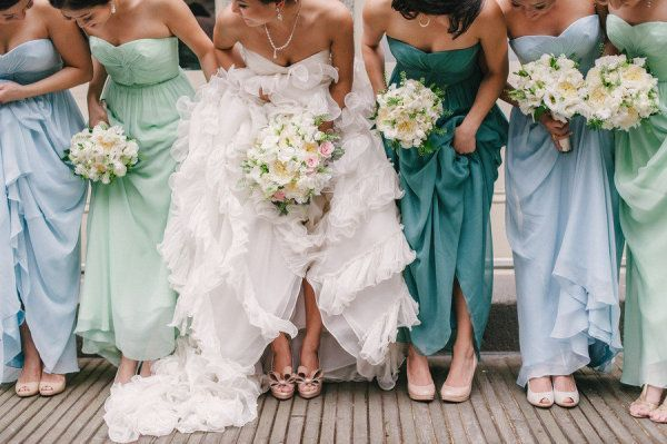 Multi-colored bridesmaids