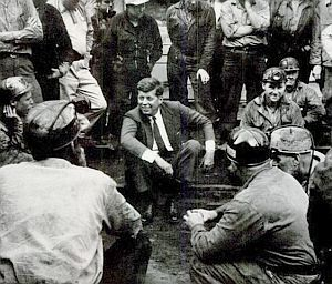 1960 ELECTION -- John F. Kennedy, presidential candidate, meeting with West Virginia coal miners.