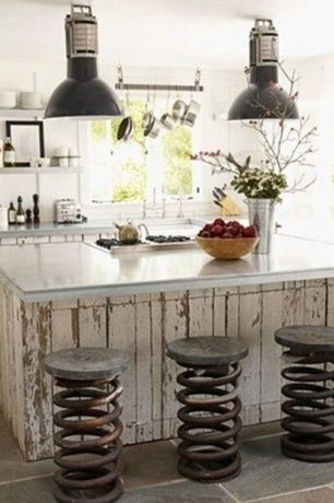 Eclectic Kitchen with Concrete countertops, Slate Tile, Undermount sink, 36-in dual track ceiling kitchen rack, black