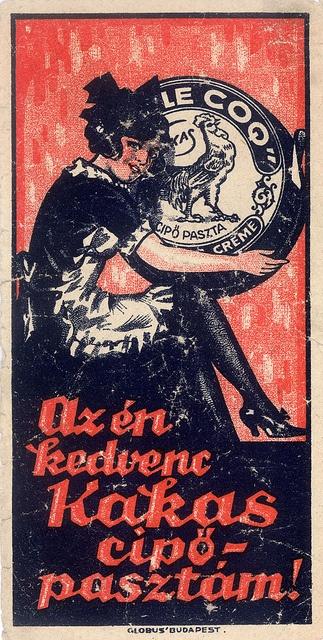 Vintage Hungarian Advertisement - Le Coq shoeblack 1907 by takacsi75, via Flickr