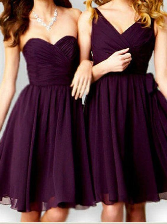 Purple Short Bridesmaid Dress,Above Knee Tulle Bridesmaid Dresses