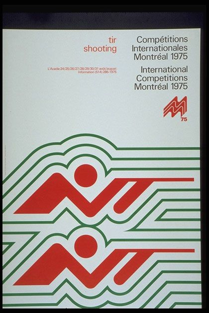 Another 'test event' poster issued in 1975, promoting the shooting event at the Montreal 1976 Summer Olympic Games.