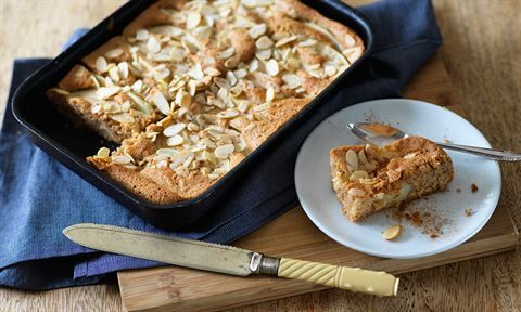 Pear and almond traybake