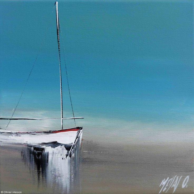 Jour de voile - Painting,  20x2x20 cm ©2015 by Olivier Messas -                                                            Contemporary painting, Canvas, Sailboat, segler, voile, voilier, sailing, boat, mer, bleu