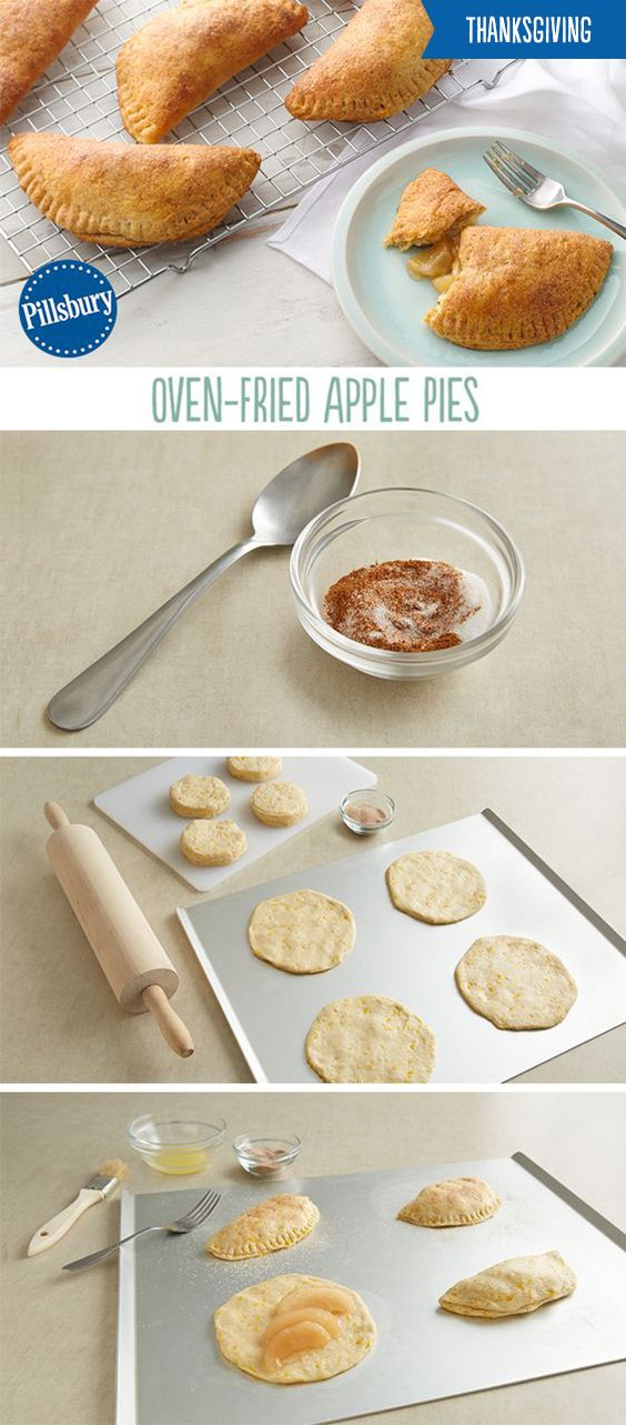 Classic apple pie just got better! Impress your guests this Thanksgiving with these mini oven-fried apple pies. They're a lot easier and faster to make compared to the classic and are in shareable portions. These five-ingredient pies are made with biscuits, apple pie filling and topped with butter and cinnamon sugar. They are a guaranteed to be a hit and will get you out of the kitchen faster!