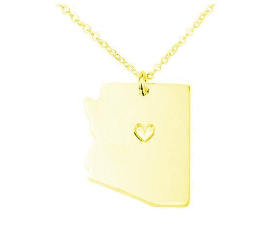 Gold Arizona Necklace,Arizona State Shaped Necklace ,AZ State Shaped Pendant,Arizona State Necklace With A Heart