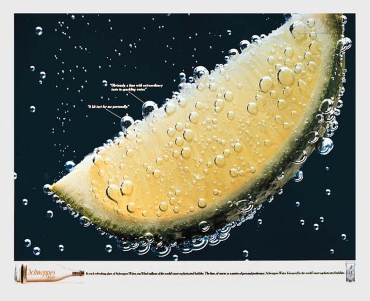 "Read more: https://www.luerzersarchive.com/en/magazine/print-detail/schweppes-130.html Schweppes Obviously, a lime with extraordinary taste in sparkling water. ""A bit tart for me personally."" - In each refreshingglass of Schweppes Water, you´ll find millions of the world´s most sophisticated bubbles. The lime, of course is a matter of personal preference. Claim: Schweppes Water. Favoured by the world´s most sophisticated bubbles. Tags: Phil Marco,Kevin McKeon,Sarah Cooper,Schweppes,Deutsch…"