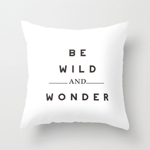 White Typography Throw Pillow Cover Decorative by// bellesandghosts