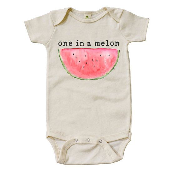 Organic One In A Melon Onesie by MiniAndMeep on Etsy