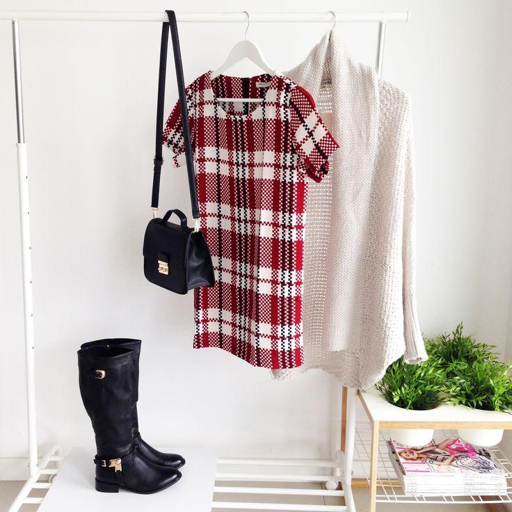 DRESS CHECKED RED I  MONASHE.PL - Sklep online z modną odzieżą. Bluzki, sukienki, torebki, obuwie, akcesoria.